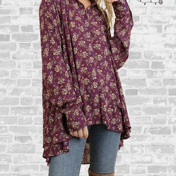 Floral Ruffle Button Up Shirt - Berry