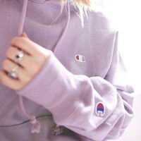 Champion Reverse Weave Hoodie Sweatshirt - Purple