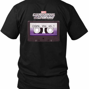 Marvel Guardians Of The Galaxy Cosmic Mix Cassette 2 Sided Black Mens T Shirt