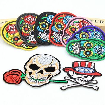 The New Skull Head Hot melt adhesive clothing patches stripes applique embroidery blossom DIY accessories Ultra-low prices