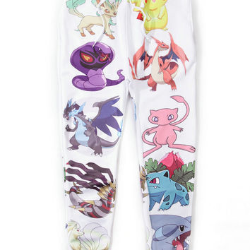 White Emoji Pokemon Print Sweatpants