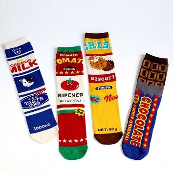 New Fashion Store Snacks Food Skateboard Socks Men Women Milk Tomato Cookies Biscuits Bubble Gum Chocolate Colorful Lovers Socks