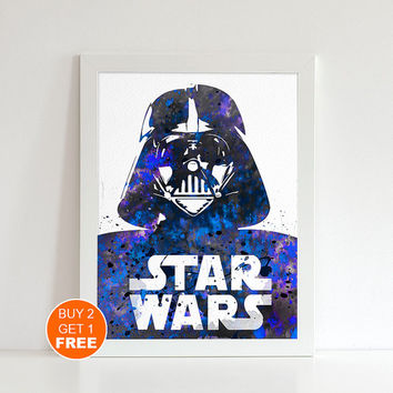 Darth Vader Star Wars print, watercolor illustration , Vader poster, geek art print, Star Wars art  print, dark side, Sith lord