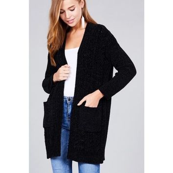 Cable Knit Long Cardigan Black