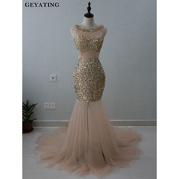 Champagne Mermaid Prom Dresses 2018 Luxury Full Gold Crystal Beaded Backless Long Evening Dress Formal Party Pageant Dresses