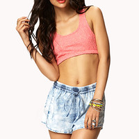 FOREVER 21 Cloud Wash Athletic Shorts Denim Washed Large