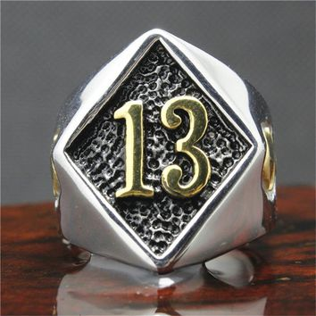 316L Stainless Steel Silver Biker 13 Ring Mens Motorcycle Biker Band Party Mens Ring