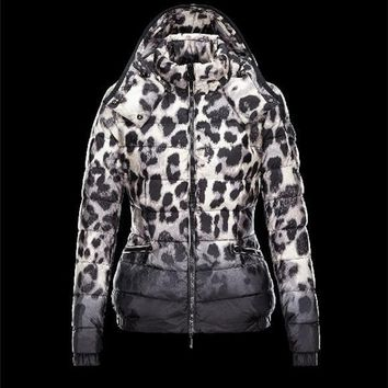 Moncler SABY animal print Detachable Turtleneck Ivory Jackets Pa/Techno Fabric Womens