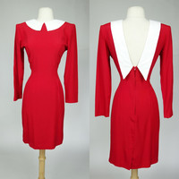 1980s red wiggle dress w/ white collar and deep plunge back, long sleeve rayon color block dress, Small