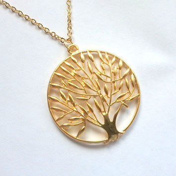 Gold Tree of Life Necklace, Silver, pendant, gift, wedding jewelry, mother, wife, sister, daughter, bridesmaid gift, yoga jewelry