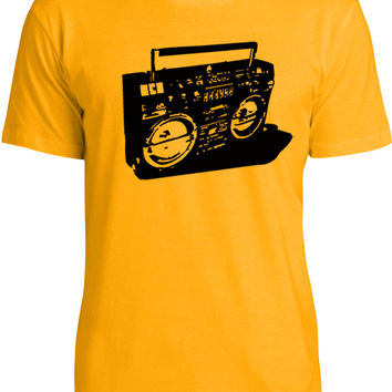 Ghetto Blaster (Black) Mens Fine Jersey T-Shirt