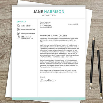 Resume Template and Cover Letter - Resume Template for Word - CV - Resume Template for Photoshop - Instant Digital Download