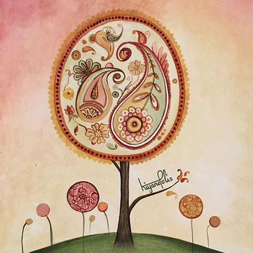 Paisley tree painting, abstract watercolor Painting, paisley art, Shiraz, Persian art, Norooz, Persian gift, Nowruz, made in Canada