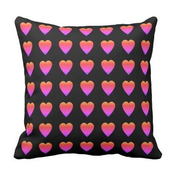 Colorful Heart Patterned Decorative Pillow Black
