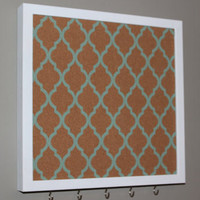 Memo board and key rack with hooks, turquoise quatrefoil pattern design with white frame