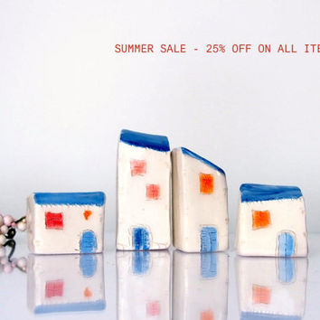 SALE 25% OFF - Ceramic City architectural objects, Cottage Village, Miniature White Ceramic clay houses with Blue roofs for Desk or shelf