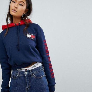 Tommy Jeans 90s Fashion Casual Pullover Capsule Top with Arm Logo Hoodie G-1