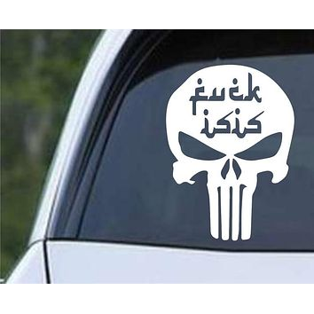 F_ck ISIS Punisher Skull Anti Terriorist Infidel Funny Die Cut Vinyl Decal Sticker