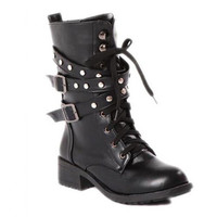 Cool Lace-Up and Flat Heel Design Women's Black Boots FREE SHIPPING !!!