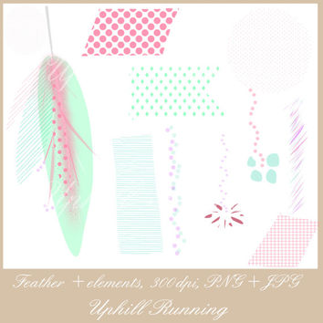 "Feather clip art set, Hand drawn clipart, 20 pcs, pink and green clip art, digital website images, 1.4-6.9"", 10PNG + 10JPG, Instant Download"