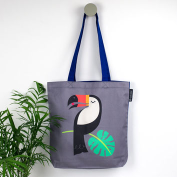 Toucan Tote Bag, Tropical Canvas Tote Bag, Scandinavian Design, Bird Print Gift, Hand sewn Toucan Shopper, Monstera leaf print, Kid Book Bag