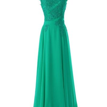 Diyouth Long Bridesmaid Chiffon Prom Dresses Scoop Evening Gowns with Appliques Green Size 18