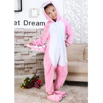 Spring Autumn Kigurumi Unicorn Unisex Flannel Children Cartoon Jumpsuits Pikachu Totoro Onesuit Anime Costume Sleepwear for Kid