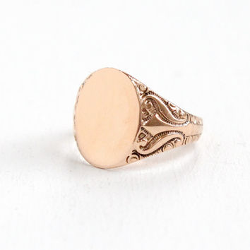 Antique 10k Rose Gold Hallmarked OB Ostby Barton Ring - Men's Size 9 Vintage Blank Monogrammed Early 1900s Edwardian Fine Jewelry
