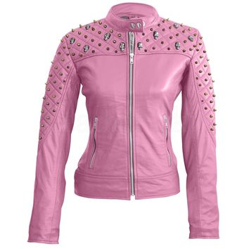 Women Pink Quilted Leather Jacket