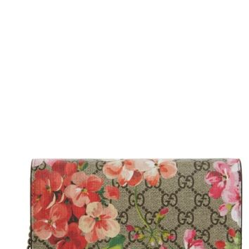 Gucci GG Blooms Supreme Canvas Wallet on a Chain | Nordstrom