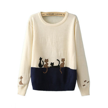 Long Sleeve Knit Tops Korean Lovely Patchwork Pullover Winter Sweater [9609414351]