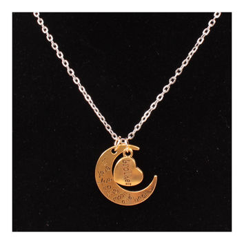 X329 love Valentine's Day love couple of European and American moon necklace ebay jewelry supply   GOLDEN BROTHER