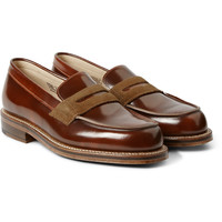 Grenson - G-Lab Suede-Trimmed Leather Penny Loafers | MR PORTER