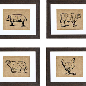 Set of Four: Cow, Pig, Chicken, Lamb