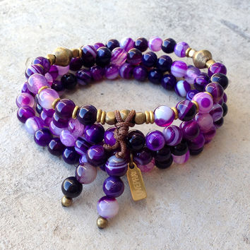 "Purple Agate ""tranformation"" 108 bead wrap mala bracelet or necklace"