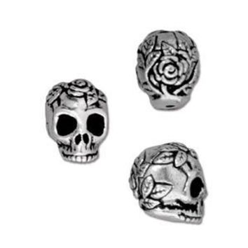 94-5685-12 - TierraCast Antique Silver Pewter Rose Skull Bead, 10mm | Pkg 2