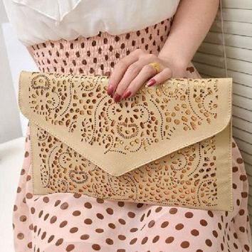 2016 vintage national women's trend handbag cutout envelope bag day clutch bag shoulder bag cross-body bag drop shipping