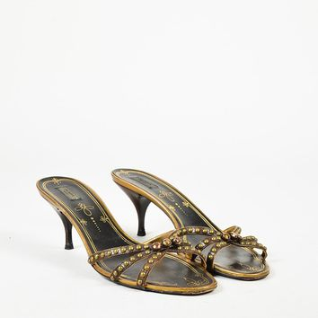Prada Brown & Antique Metallic Gold Leather Crystal Embellished Sandals