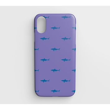 Shark Cell Phone Case iPhone XR - Blue on Purple