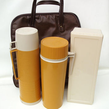 Vintage Picnic Set / Camping Gear / Thermos Containers, Sandwich Box, Vinyl Tote Bag  - As Is