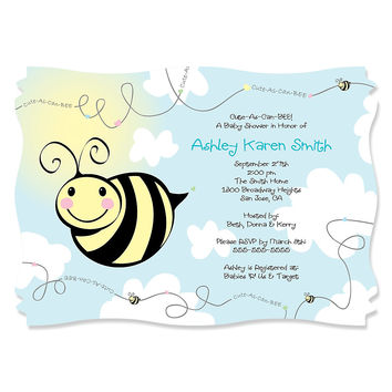Cute-As-Can-BEE - Personalized Baby Shower Invitations