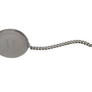 Silver Toned Etched Oval Letter P Monogram Tie Tack