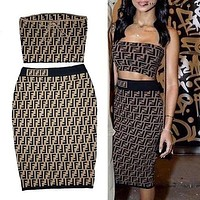 Fendi Strapless Vest Skirt Set Two-Piece