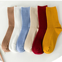 New Style Korean Women Socks Fashion Casual Korea Solid Sock Autumn Winter Women Simple Socks
