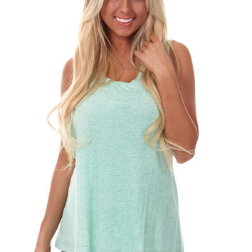 Mint Cut Back Layered Tank Top