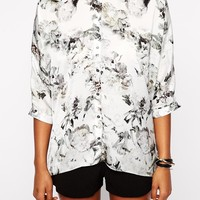 River Island Black And White Floral Shirt With Split Back at asos.com
