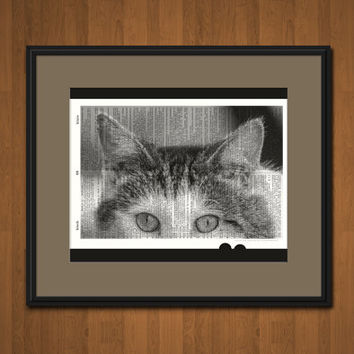 CAT PHOTO Dictionary Art Print Vintage Upcycled Book Page Black And White Photography Cat Home Decor Cat Wall Decor Nursery Decor Office Art