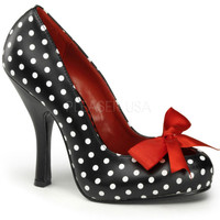 Pinup Couture Cutiepie Polka Dot Slip On Pumps with Bow
