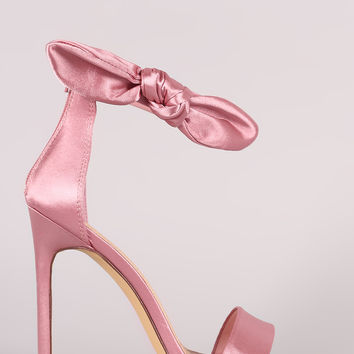Liliana Satin Open Toe Side Knotted Bow Stiletto Heel | UrbanOG