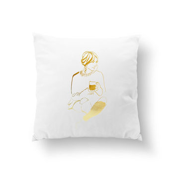 Woman With Coffee Pillow, Decorative Pillow, Fashion Illustration, Home Outfit, Fashion Chic, Throw Pillow, Fashion Pillow, Cushion Cover